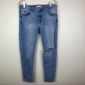 Zara   Distressed Knee Skinny Jeans